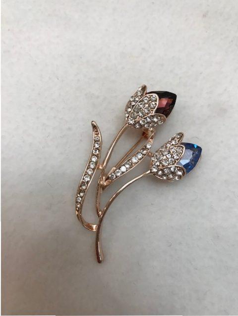 rhinestone brooch - floral bud