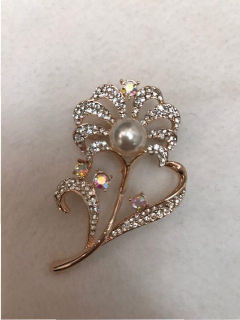 rhinestone with imitation pearl brooch - flower