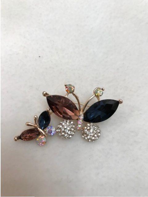 rhinestone twin butterfly brooch