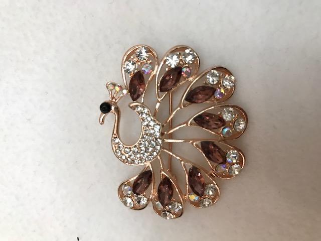 rhinestone peacock brooch