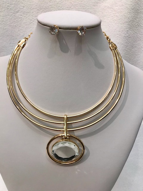 GOLDEN COLOR CHOKER WITH CLEAR COLOR STONE PENDANT WITH EARRING