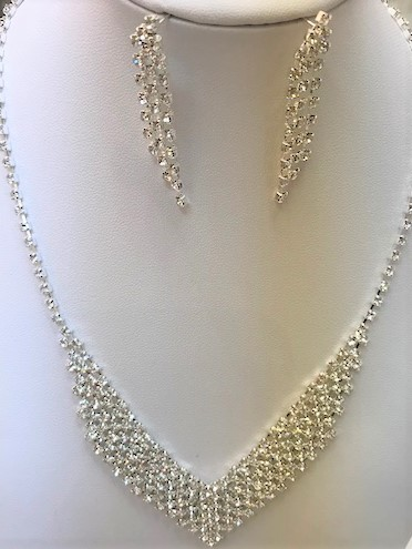 rhinestone necklace with matching earring
